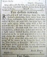 1798 Baltimore MARYLAND newspaper Federal Gazette with a RUNAWAY SLAVE REWARD AD