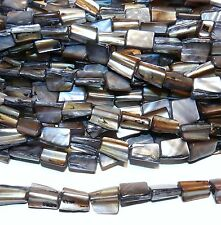 MP1550L Soft Black Mother of Pearl 15x8mm Lg Nugget Gemstone Shell Beads 16""