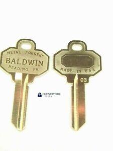 2 Brand New BALDWIN 5 PIN KEY BLANKS Model Number BAL8335152 (2 KEYS TOTAL)