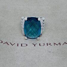 David yurman Wheaton Hampton Blue Topaz 20mm X16mm Ring with Diamonds, size 7