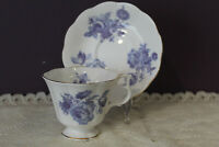 BEAUTIFUL ROYAL ALBERT BONE CHINA  BLUE FLORAL TEA CUP AND SAUCER ENGLAND