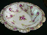 """PS Sorau Gilded Porcelain Serving Bowl Antique Germany Red Floral 8 1/4"""", NICE"""