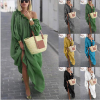 Womens Oversize Long Sleeves Sloping Off Shoulder Loose Maxi Dress Fashion Plus