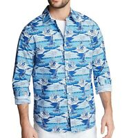 Nautica Mens Shirt Blue Size 3XL Classic-Fit Stretch Printed Button Down $69 051
