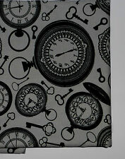 fat quarter in cotton poplin with pocket watches and keys on mid grey background