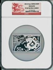 2012 China 50 Yuan Silver 5oz Rectangle Dragon Proof Coin NGC PF69
