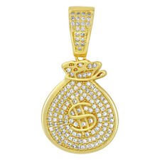 Gold over Sterling Silver Vermeil Cubic Zirconia Money Bag Pendant #GP044