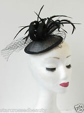 Black Veil Feather Fascinator Hair Clip Cocktail Vintage Races Sinamay Deco R30