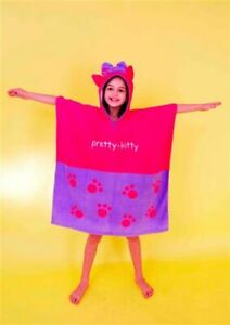 Kids Hooded Poncho Towel Girls Pretty Kitty