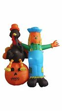 Thanksgiving Inflatable Scarecrow with Turkey and Pumpkin Party Yard Decoration