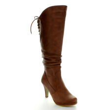 NEW SZ TAN 6.5 HIGH HEEL KNEE HIGH RIDDING WOMAN SEXY STILETTO LACE UP BOOT W40