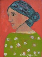 Virginia Woolf PRINT Pink Polka Dots by Katie Jeanne Wood 8x10 inches