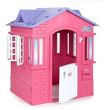 Kids Plastic Playhouse Cottage Children Indoor Outdoor Play House Toddler Pink