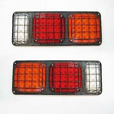 Led Rear Tail Lights Truck Lorry Trailer Caravan 12/24v Set Of 2 +Metal Guard