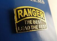 """BRAND NEW Lapel Pin US Army RANGER The Best Lead The Rest Black Yellow Enamel 1"""""""