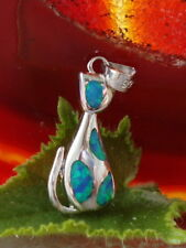 Anhänger Silber Katze Kätzchen Feueropal Opal blau türkis Sterling Silber 925