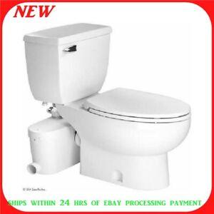 SANIFLO SANIACCESS2 Upflush Round Chair Height Toilet + Macerating Pump 3pc Kit