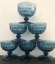 Set of 6 MCM Indiana Glass Blue Whitehall Rivera Cubist Sherbet/Dessert Glasses