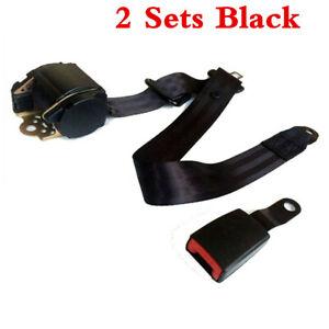 2x Black Adjustable Seat Belt Car Truck Lap Belt Universal 3 Point Safety Travel