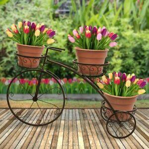 Antirust 3Tier Bicycle Metal Plant Stand Garden Planter Shelf Flower Holder Rack