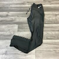 NIKE POWER SPEED TIGHT FIT WOMEN RUNNING RUFFLED TIGHTS BLACK SIZE SMALL