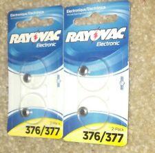 in Pack. 4 batterys total. Rayovac 376/377 Watch Battery- 2 batterys