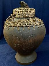 Ifugao Carved Butterfly & Lizard Container. Unique. Rare. Vintage.
