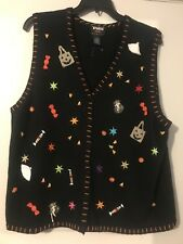 Black Sleeveless Halloween Vest with LOTS of Embellishments and Embroidery - 1X