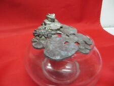 Pewter Colored Frog On Lily Pad Trinket Dish