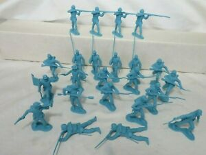 MARX/CTS Union Infantry 1/32 plastic toy soldiers 23 figures flat finish lt bl