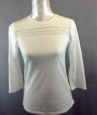 Ladies Lace Crochet ¾ Sleeved Top UK 6  New  - D2
