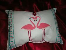 "Teal & Pink Christmas & Valentine Tropical Love Pink Flamingo Pillow 18"" X 13"""