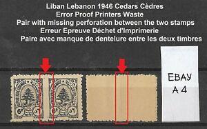 A4) 1946 France Liban Lebanon MNH - Error - Plants Cedars Imperf Between Stamps