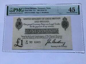 Bradbury £1, F14 prefix, EPM T11.1, PMG Graded 45 Choice EF