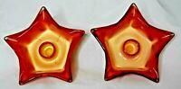 Art Glass Star Candle Holder Ashtray Set of 2 Orange & Yellow Swirl 5 point