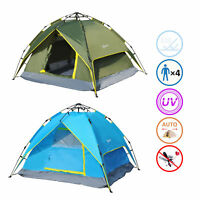 New 3-4 Person Double Layer Family Camping Hiking Instant Tent Auto water-resist