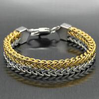 Men's Franco Chain Link Bracelet Silver Gold Stainless Steel Snake Bone Bangle