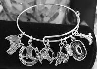 Western,Cowgirl boots,hat,Horse & saddle Silver charm Expandable Bangle Bracelet