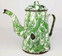Antique Distressed Green Swirl Graniteware Enamelware Gooseneck Coffee Pot w Lid