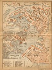 1902 ANTIQUE TOWN PLAN -FRANCE- TOULON