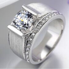 1CT Perfect Design Real Solid 14K White Gold Diamond Men's Engagement Ring