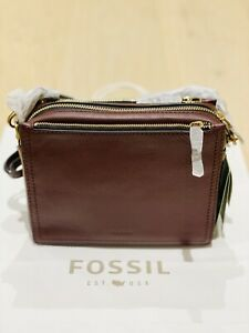 Fossil Campbell Crossbody Claret Red
