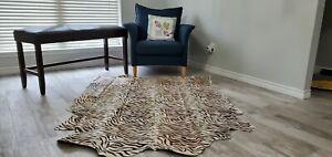 Large Cowhide Rug Tiger printed   5 by 7 ft Cow Skin Tiger Hide, Leather rugs
