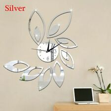 Clock Lotus DIY Acrylic 3D Mirror Wall Sticker Mural Decals Removable Sticky New