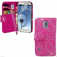 Pink Diamond Wallet Case Pouch PU Leather Cover For Samsung Galaxy S5 mini G800