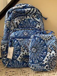 VERA BRADLEY Essential Large Backpack Blue Star Medallion + Lunch Bag Set NWT