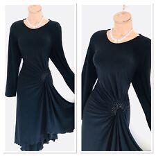 Stunning JOSEPH RIBKOFF Black Jersey Draped Dress With Embellished Detail Uk 16