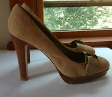 "Bakers ""Jackie"" Light Tan Leather Classic Platform 4.75"" Heels Women's Sz 10B"