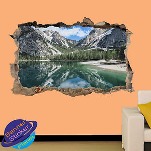 CREEK LAKE MOUNTAIN  FOREST  ART WALL STICKER ROOM OFFICE DECOR DECAL MURAL ZO6