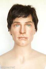 Dark Brown Brunette Medium Human Hair Straight Men Wig